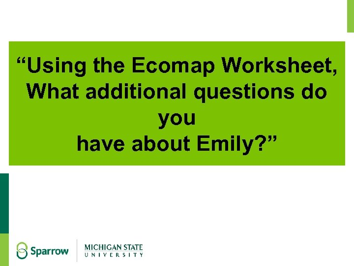 """""""Using the Ecomap Worksheet, What additional questions do you have about Emily? """""""