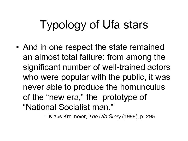 Typology of Ufa stars • And in one respect the state remained an almost