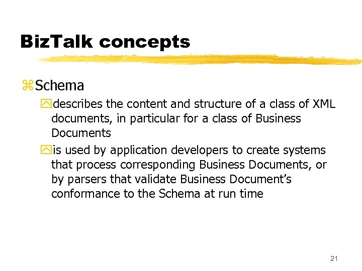 Biz. Talk concepts z Schema ydescribes the content and structure of a class of