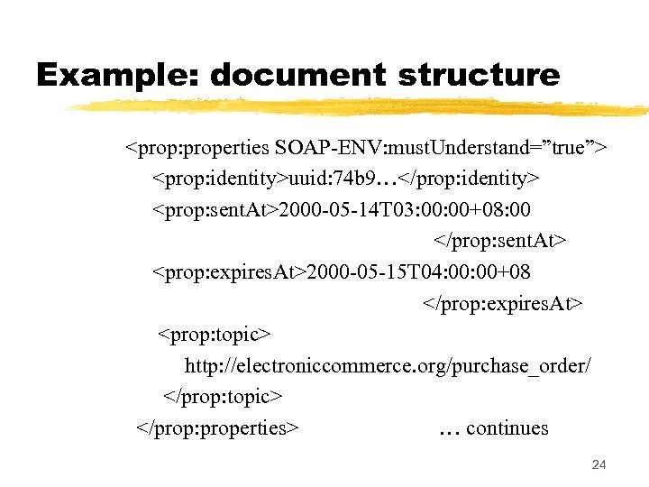 "Example: document structure <prop: properties SOAP-ENV: must. Understand=""true""> <prop: identity>uuid: 74 b 9…</prop: identity>"