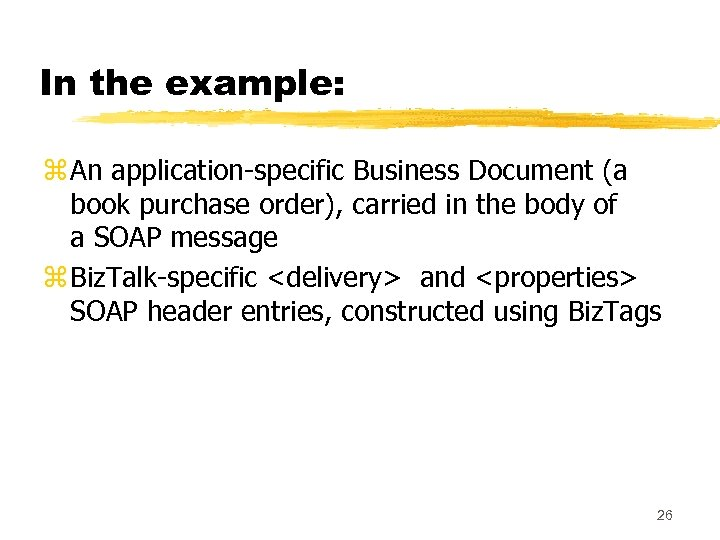 In the example: z An application-specific Business Document (a book purchase order), carried in