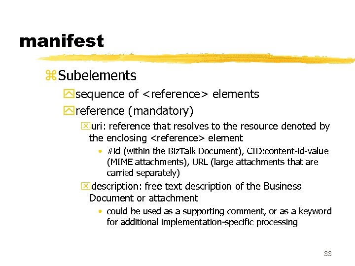 manifest z Subelements ysequence of <reference> elements yreference (mandatory) xuri: reference that resolves to