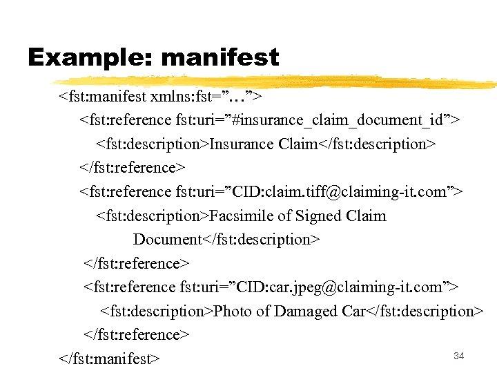 "Example: manifest <fst: manifest xmlns: fst=""…""> <fst: reference fst: uri=""#insurance_claim_document_id""> <fst: description>Insurance Claim</fst: description>"