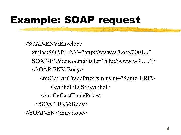 "Example: SOAP request <SOAP-ENV: Envelope xmlns: SOAP-ENV=""http: //www. w 3. org/2001. . . """