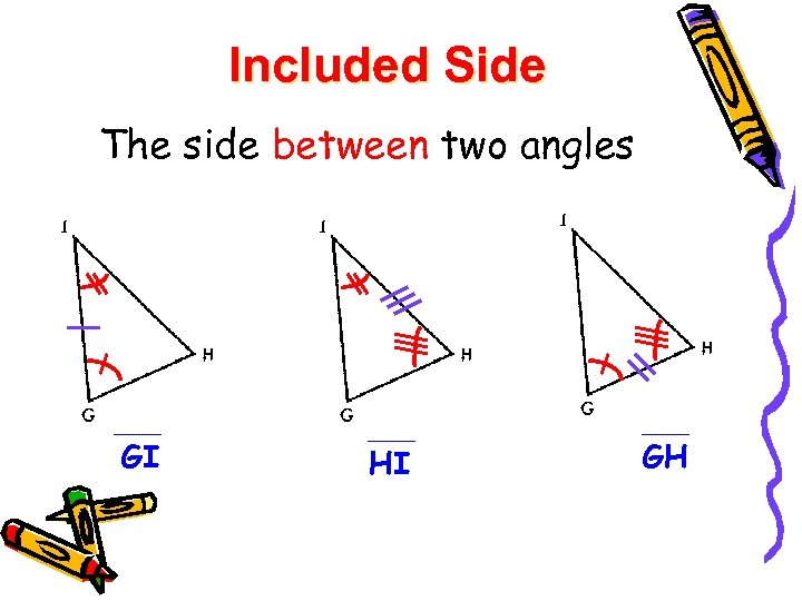 Included Side The side between two angles GI HI GH