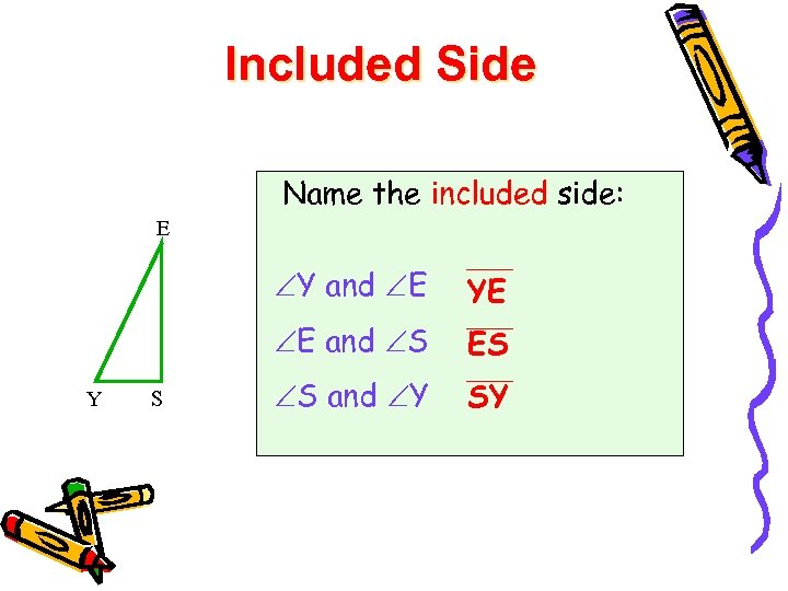 Included Side Name the included side: E Y and E E and S YE