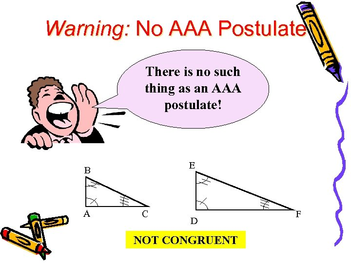 Warning: No AAA Postulate There is no such thing as an AAA postulate! E