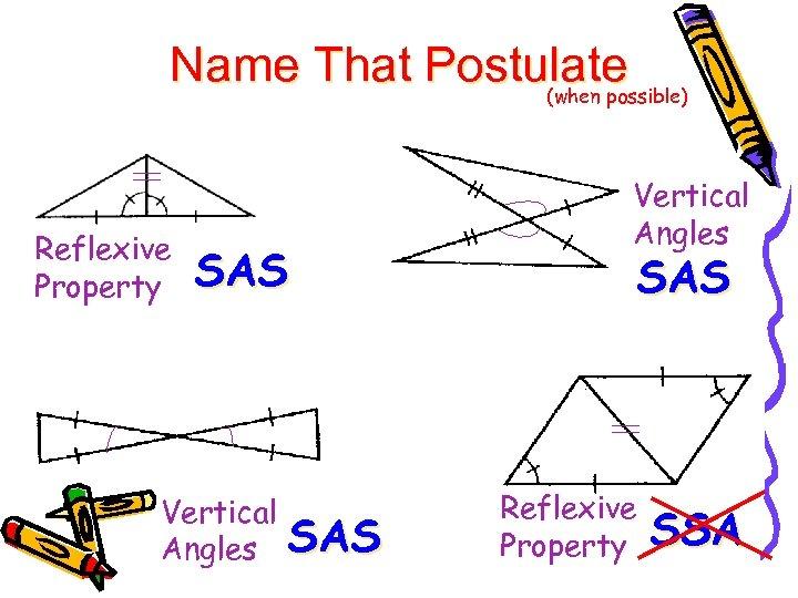 Name That Postulate (when possible) Reflexive Property SAS Vertical Angles SAS Reflexive Property SSA