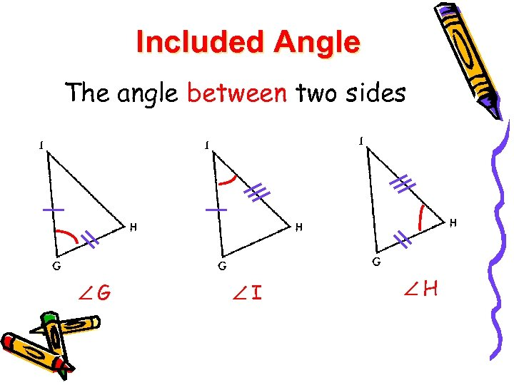 Included Angle The angle between two sides G I H