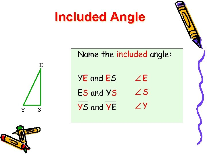 Included Angle Name the included angle: E YE and ES ES and YS Y