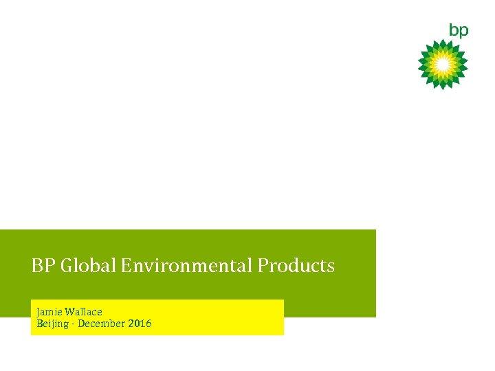 BP Global Environmental Products Jamie Wallace Beijing - December 2016