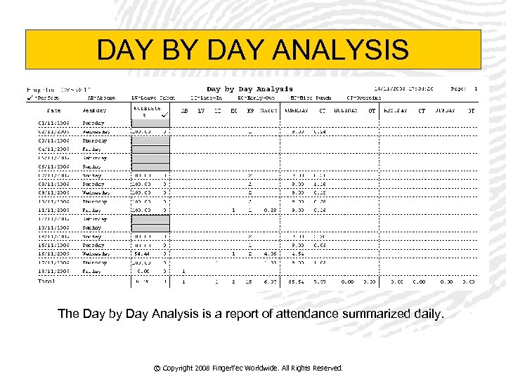 DAY BY DAY ANALYSIS The Day by Day Analysis is a report of attendance