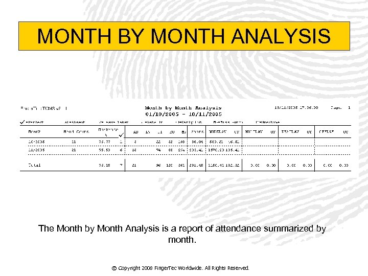 MONTH BY MONTH ANALYSIS The Month by Month Analysis is a report of attendance