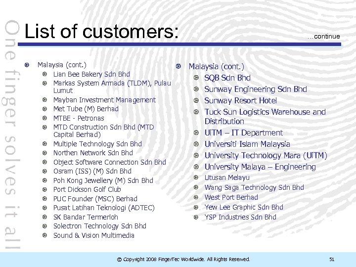 List of customers: Malaysia (cont. ) Lian Bee Bakery Sdn Bhd Markas System Armada