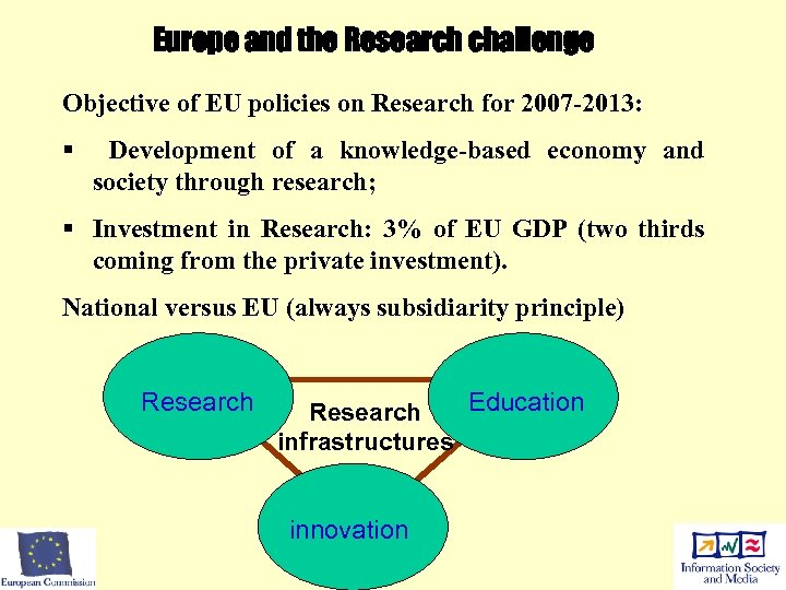 Europe and the Research challenge Objective of EU policies on Research for 2007 -2013: