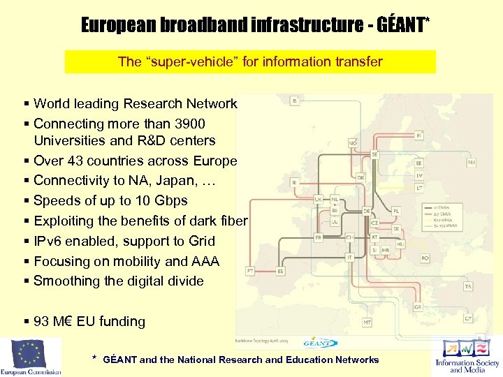 """European broadband infrastructure - GÉANT* The """"super-vehicle"""" for information transfer § World leading Research"""