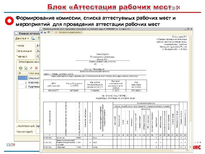 Блок «Аттестация рабочих мест» : Формирование комиссии, списка аттестуемых рабочих мест и мероприятий для