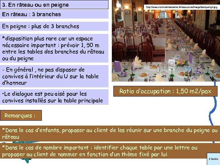3. En râteau ou en peigne http: //www. normotel-lamarine. fr/ressources/Image/banquet-gd. jpg En râteau :