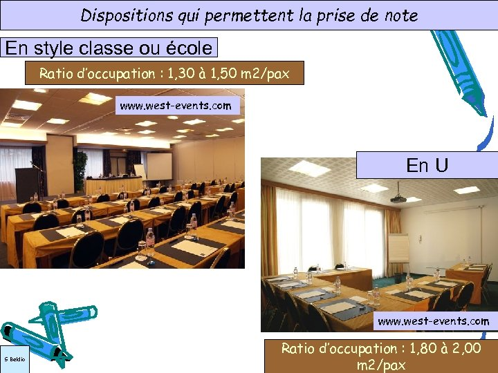 Dispositions qui permettent la prise de note En style classe ou école Ratio d'occupation