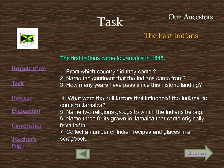 Task Our Ancestors The East Indians Introduction Task Process Evaluation Conclusion Teacher's Page The