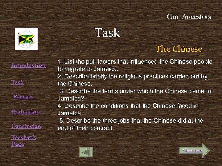 Our Ancestors Task Introduction Task Process Evaluation Conclusion The Chinese 1. List the pull