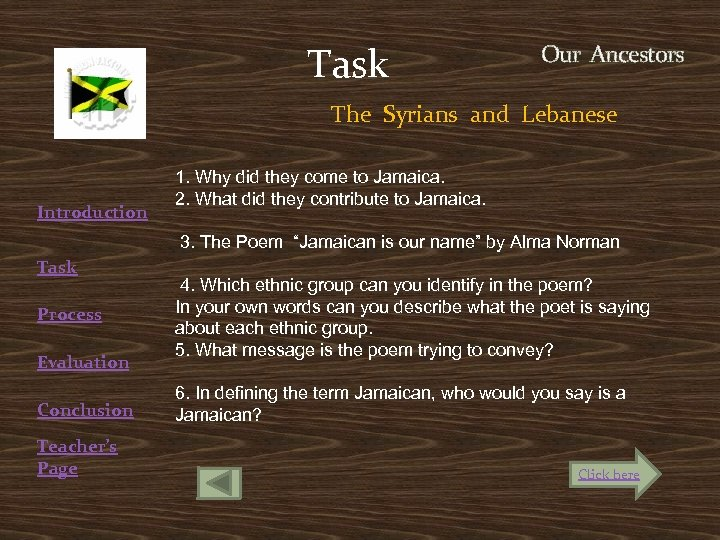 Task Our Ancestors The Syrians and Lebanese Introduction Task Process Evaluation Conclusion Teacher's Page