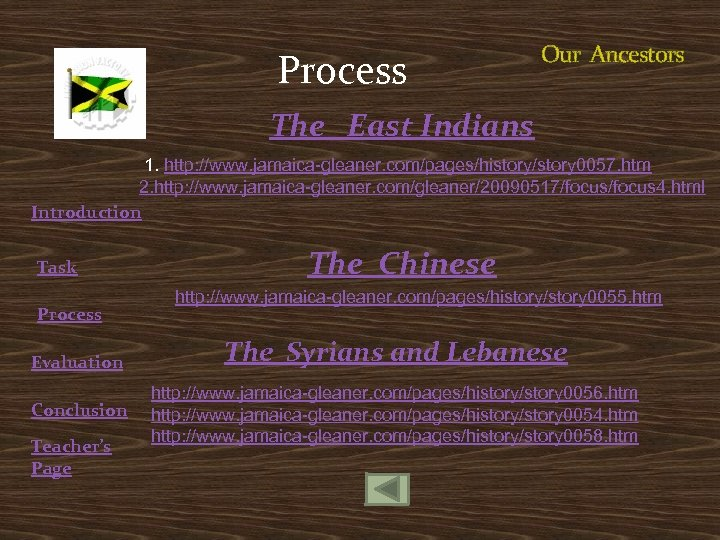 Process Our Ancestors The East Indians 1. http: //www. jamaica-gleaner. com/pages/history/story 0057. htm 2.