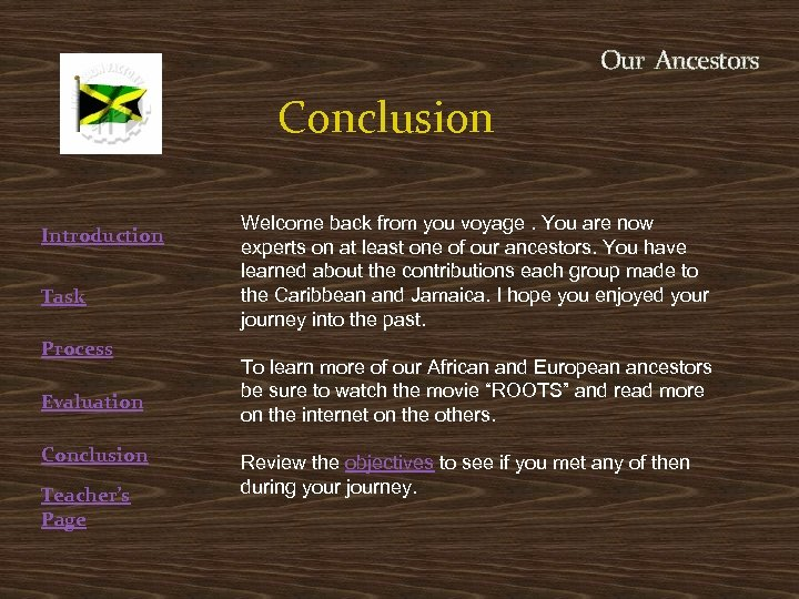 Our Ancestors Conclusion Introduction Task Process Evaluation Conclusion Teacher's Page Welcome back from you