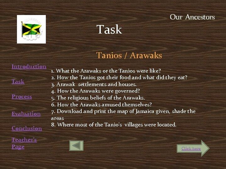 Our Ancestors Task Introduction Task Process Evaluation Conclusion Teacher's Page Tanios / Arawaks 1.