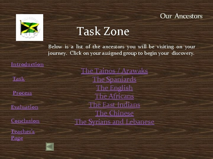 Our Ancestors Task Zone Below is a list of the ancestors you will be