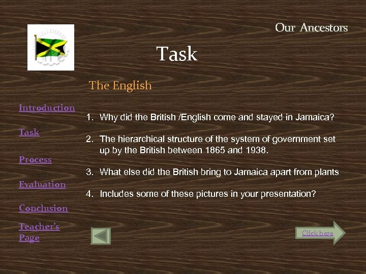 Our Ancestors Task The English Introduction Task Process 1. Why did the British /English