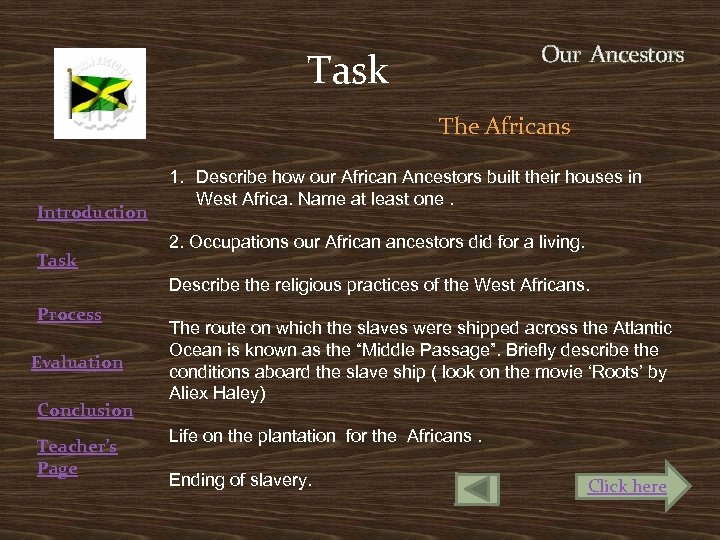 Our Ancestors Task The Africans Introduction Task 1. Describe how our African Ancestors built