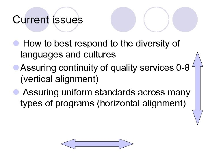 Current issues l How to best respond to the diversity of languages and cultures