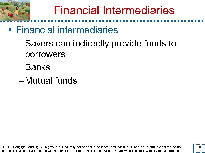 Financial Intermediaries • Financial intermediaries – Savers can indirectly provide funds to borrowers –