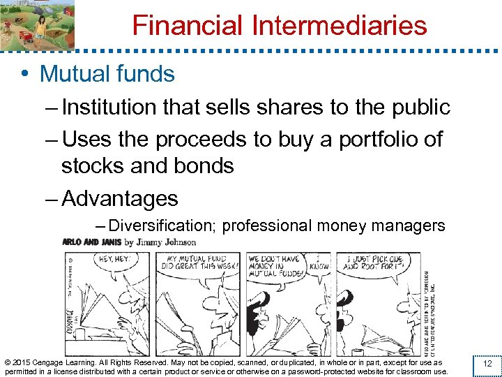 Financial Intermediaries • Mutual funds – Institution that sells shares to the public –