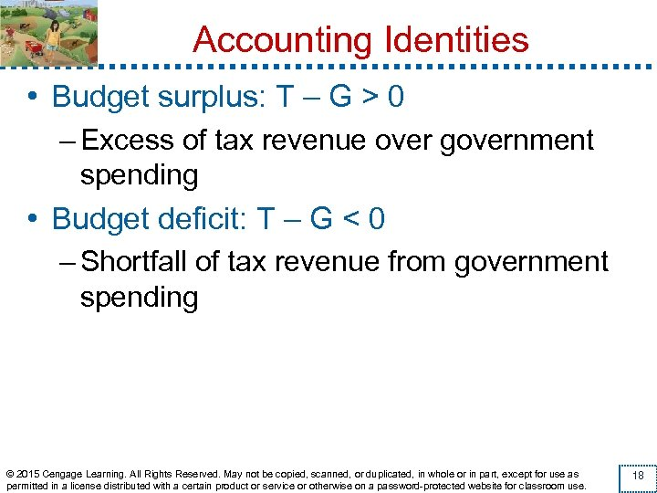 Accounting Identities • Budget surplus: T – G > 0 – Excess of tax