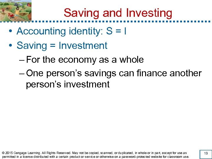 Saving and Investing • Accounting identity: S = I • Saving = Investment –