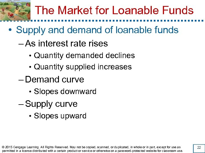 The Market for Loanable Funds • Supply and demand of loanable funds – As