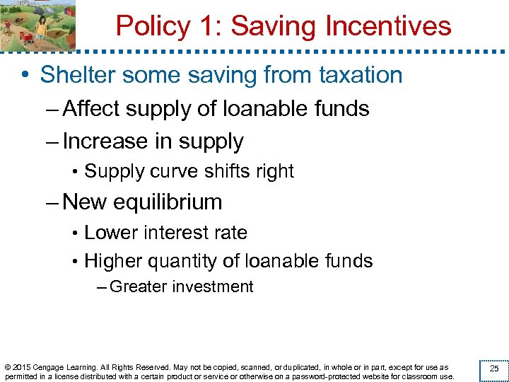 Policy 1: Saving Incentives • Shelter some saving from taxation – Affect supply of