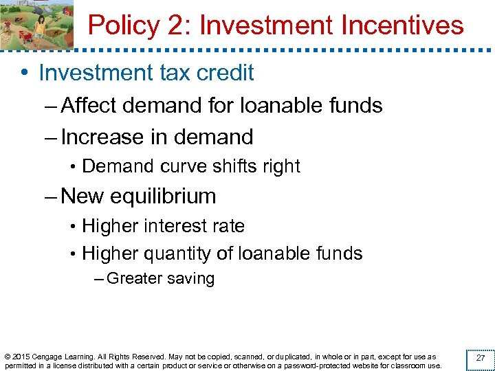 Policy 2: Investment Incentives • Investment tax credit – Affect demand for loanable funds