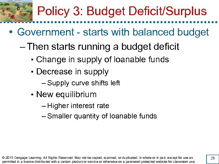 Policy 3: Budget Deficit/Surplus • Government - starts with balanced budget – Then starts
