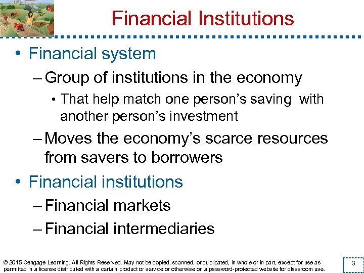 Financial Institutions • Financial system – Group of institutions in the economy • That