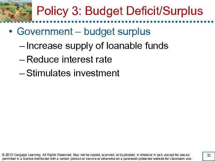 Policy 3: Budget Deficit/Surplus • Government – budget surplus – Increase supply of loanable