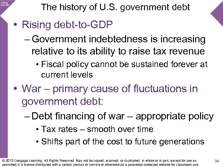 The history of U. S. government debt • Rising debt-to-GDP – Government indebtedness is