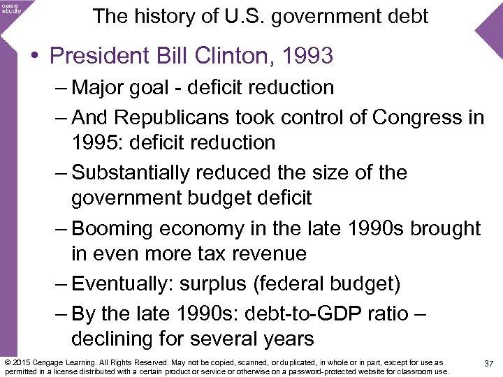 The history of U. S. government debt • President Bill Clinton, 1993 – Major