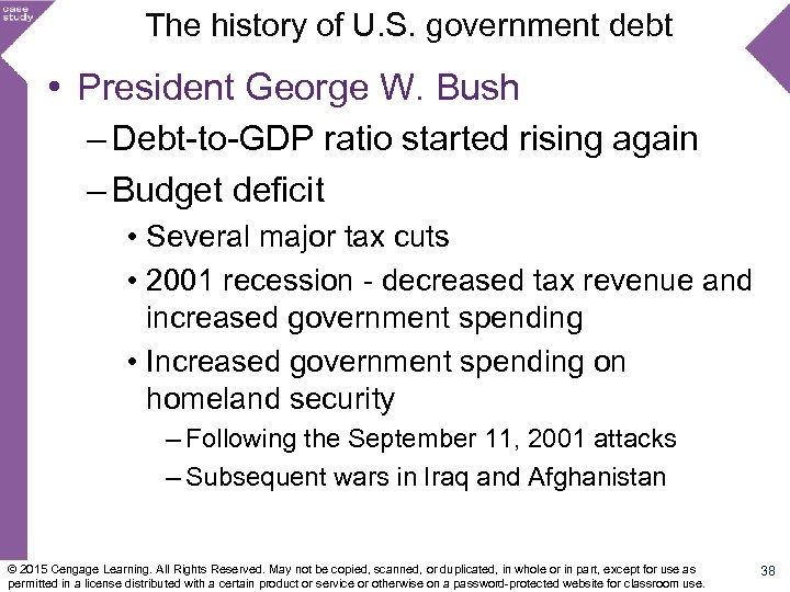 The history of U. S. government debt • President George W. Bush – Debt-to-GDP