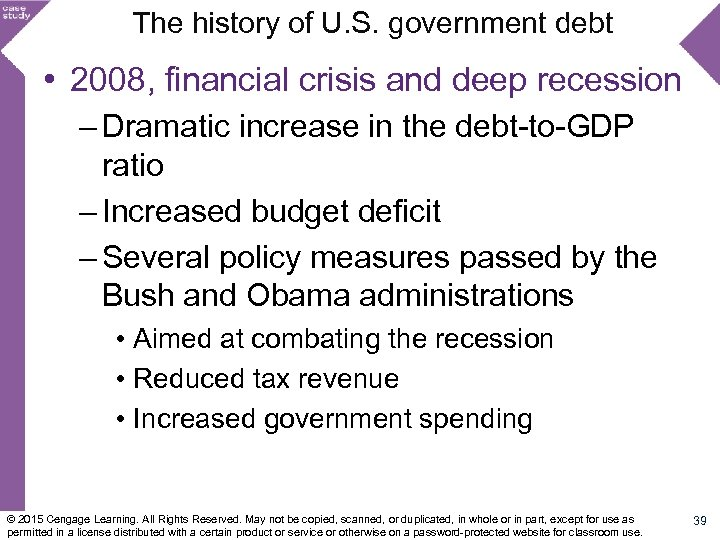 The history of U. S. government debt • 2008, financial crisis and deep recession