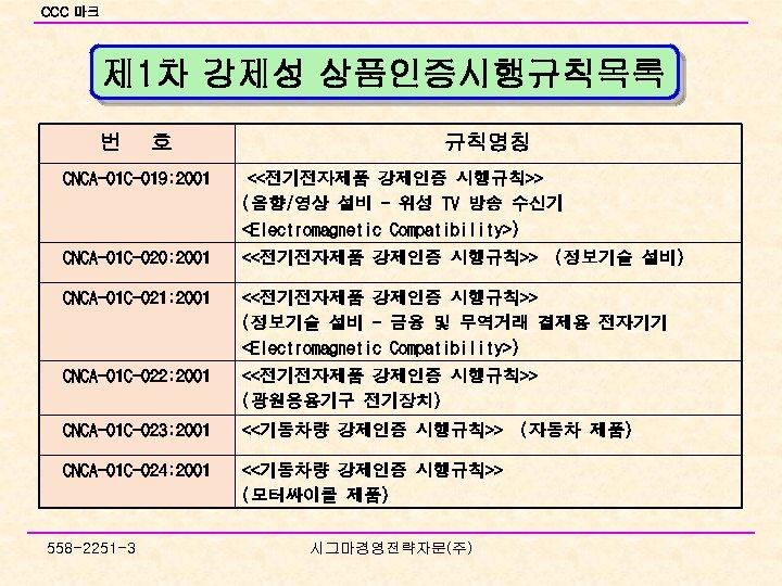 CCC 마크 제 1차 강제성 상품인증시행규칙목록 번 호 규칙명칭 CNCA-01 C-019: 2001 <<전기전자제품 강제인증