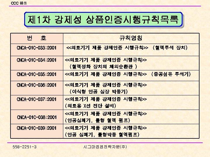 CCC 마크 제 1차 강제성 상품인증시행규칙목록 번 호 CNCA-01 C-033: 2001 규칙명칭 <<의료기기 제품
