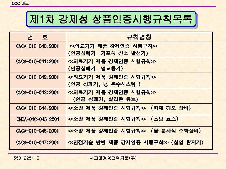 CCC 마크 제 1차 강제성 상품인증시행규칙목록 번 호 규칙명칭 CNCA-01 C-040: 2001 <<의료기기 제품
